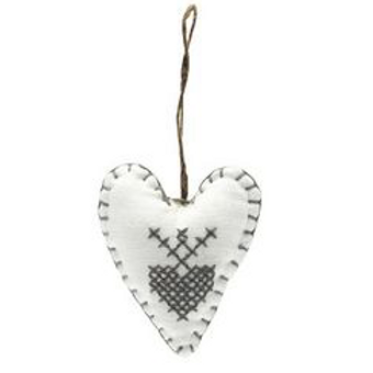 White Felt hanging heart with grey cross stitch, scandi christmas interiors at Source for the Goose, Devon