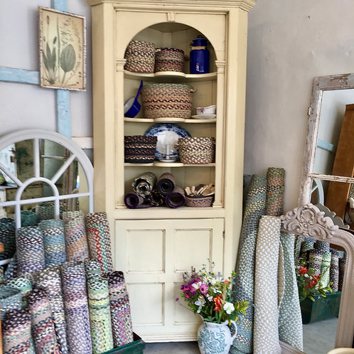 Cream painted Victorian corner cupboard, vintage secondhand furniture at Source for the Goose