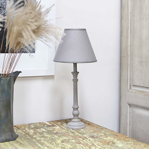 Carved Wooden Lamp and Shade in  Grey, Biggie Best at Source for the Goose lifestyle shop