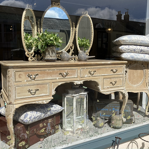 French style carved dressing table or desk, vintage and secondhand furniture at Source for the Goose, South Molton
