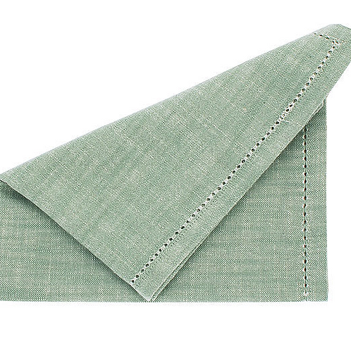 Set of four moss green cotton chambray napkins, Waltons of Yorkshire interiors at Source for the Goose