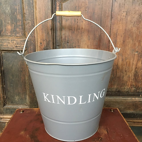 Light Grey Kindling Bucket with white writing, country style interiors at Source for the Goose, Devon