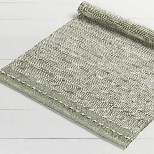 Medium Sage Green Diamond Weave Stripe Recycled Plastic Rug, Waltons of Yorkshire homewares