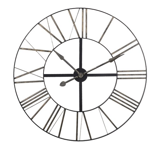 Distressed Look Roman Numeral Wall Clock, interiors at Source for the Goose