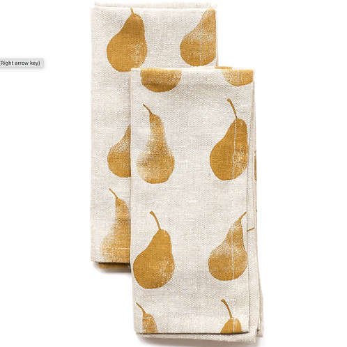 Set of Four Golden  Yellow Pear Design Napkin, recycled cotton homewares at Source for the Goose