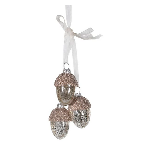 Set of 3 hanging acorns in mochas tones, christmas interiors at Source for the Goose, South Molton, Devon