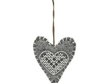 Small Grey hanging felt heart with cross stitch, nordic style christmas interiors at Source for the Goose, Devon
