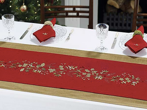 Red Table Runner with Holly Berry Garland embroidered design, Waltons ion Yorkshire at Source for the Goose, South Molton