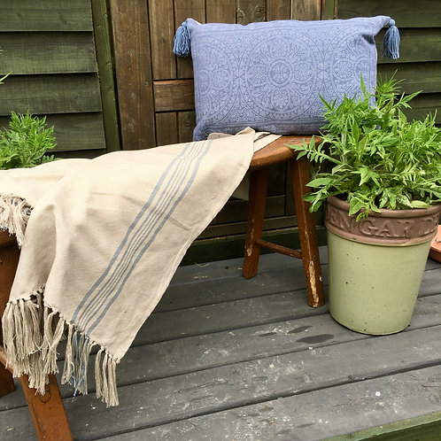 French linen look Weaver Green Antibes Blue Throw, made with recycled plastic bottles at Source for the Goose