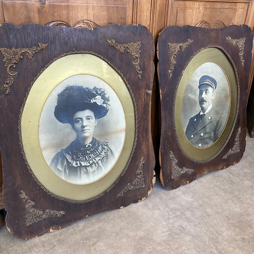 French look, Two Edwardian Photos in Scalloped Edge Frames, vintage interiors at Source for the Goose, Devon