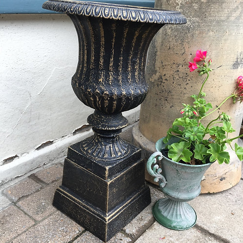 Bronzed effect black cast iron urn, interiors at Source for the Goose