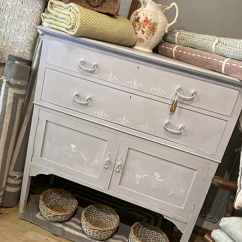 Grey Gustavian Style Cupboard, vintage furniture at Source for the Goose, South Molton