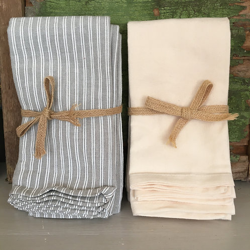County Ticking Grey and Warm White set of four cotton napkins by Waltons of Yorkshire to buy in Devon