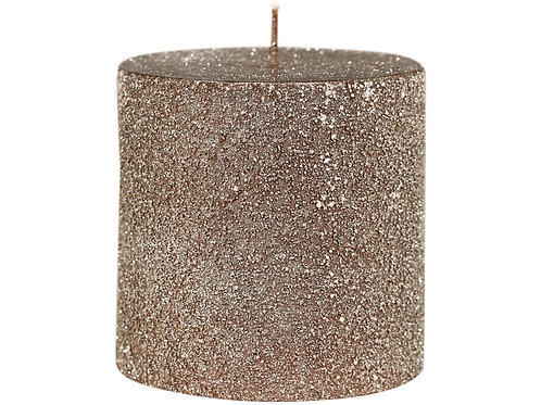 Mocha colour candle with lightly shimmering glitter finish at Source for the Goose