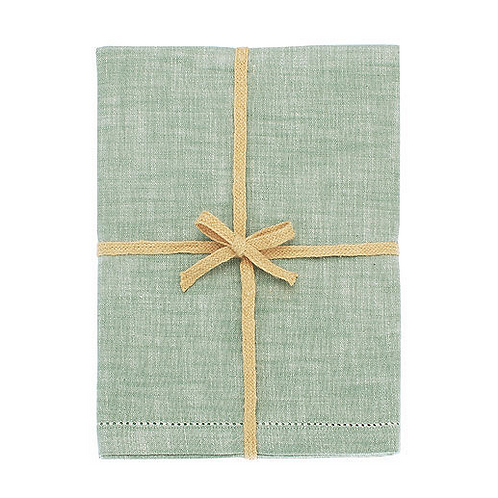 Chambray Tablecloth in Moss Green from Waltons of Yorkshire, interiors at Source for the Goose