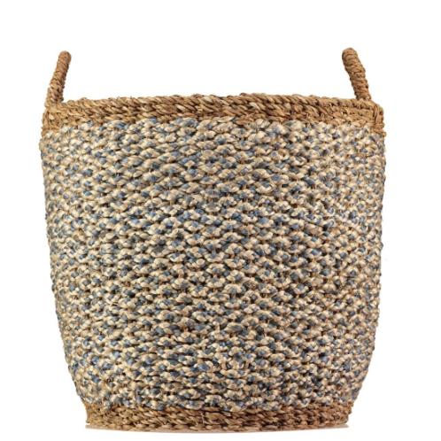 Thistle/White Organic Jute Log Basket, rustic homewares at Source for the Goose