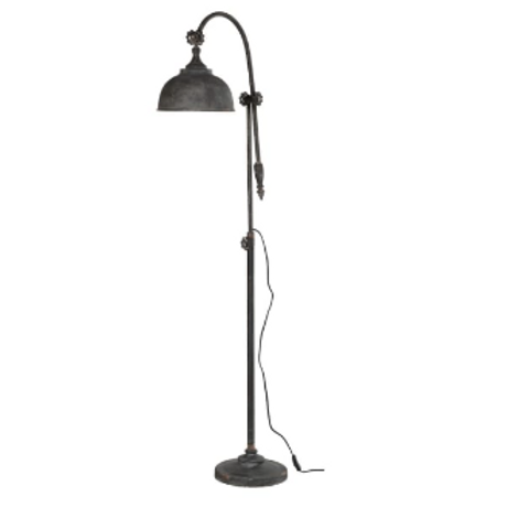 Distressed metal floor arch lamp with shade, rustic interiors at Source for the Goose