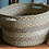 Braided Rug Basket in Seaspray, muted greens and blues, at Source for the Goose, South Molton, Devon