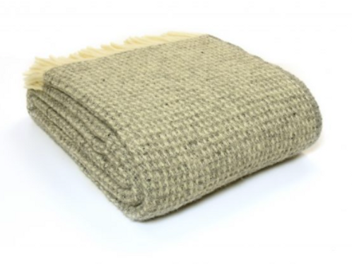 Tweedmill Waffle Frost Pure New Wool Blanket, hygge interiors at Source for the Goose, Devon