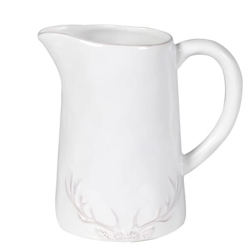 White jug with rustic antler design, country style interiors at Source for the Goose, South Molton, Devon