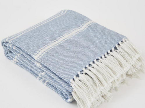 Weaver Green Oxford Stripe blanket in Lavender Blue, interiors at Source for the Goose