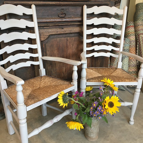 Ladderback vintage french carver chairs in Annie Sloan Paris Grey, lightly distressed, at Source for the Goose, South Molton