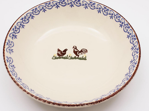 Brixton Pottery Cock and Hen Serving Plate, rustic spongeware homewares at Source for the Goose, Devon