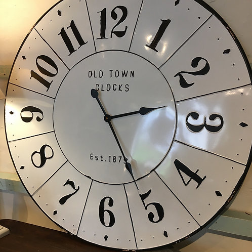 Large white metal Old Town clock with black numbers, homewares at Source for the Goose, Devon
