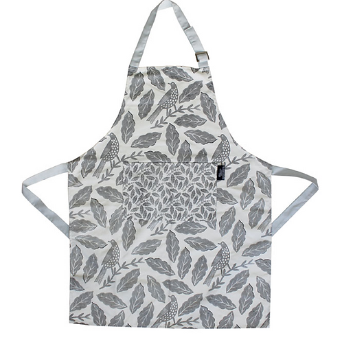 Songbird Grey Apron with birds and leaves design, homewares at Source for the Goose, Devon