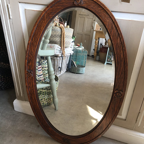 Oval Edwardian Wooden Framed Mirror with Bevelled Glass, vintage interiors at Source for the Goose, Devon