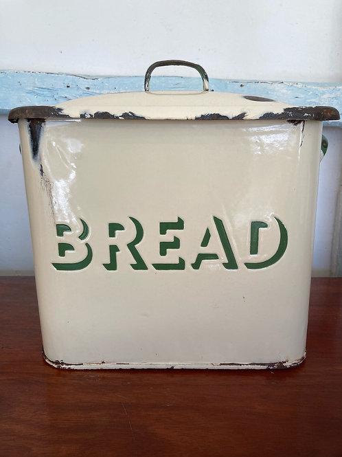 Vintage Cream and Green Bread Bin