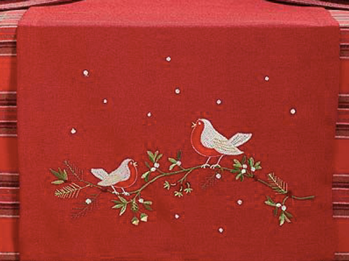 Red Table Runner with Robins and Holly embroidered design, Waltons of Yorkshire homewares at Source for the Goose, Devon