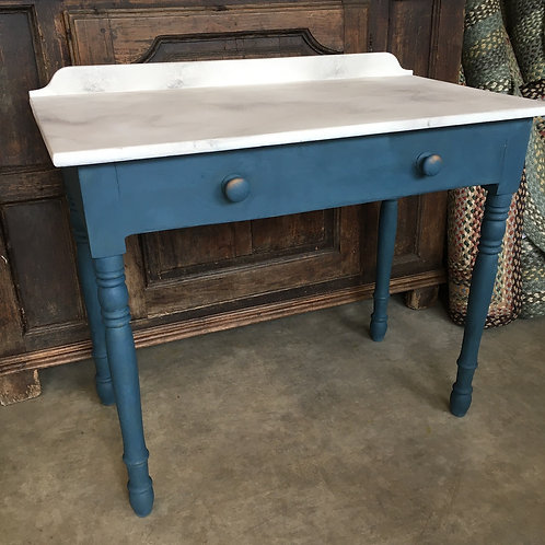 Faux marble washstand painted in Annie Sloan Aubusson, at Source for the Goose, Devon