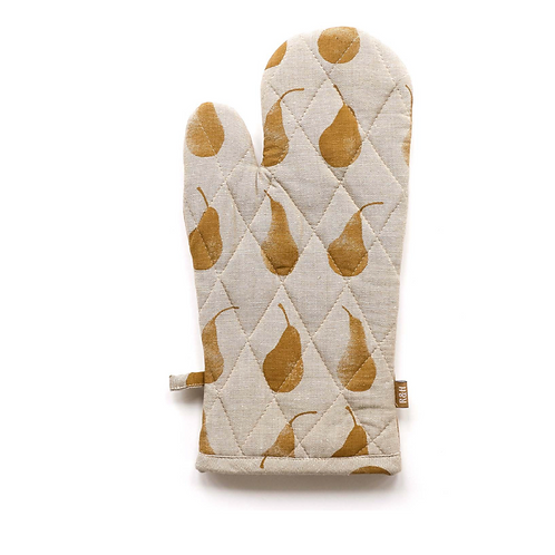 Recycled cotton Oven Glove with Golden Yellow Pear Design