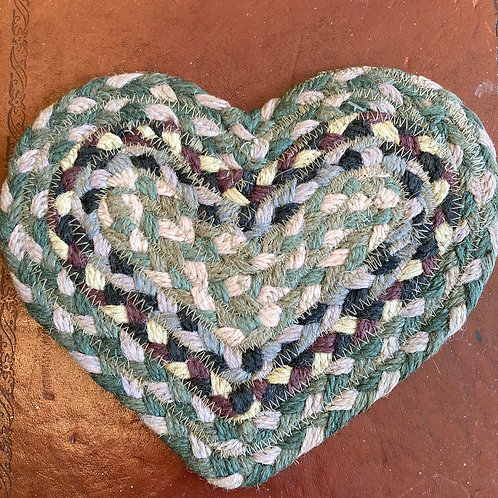Heart Shaped Jute Coaster in Tundra, Braided Rug Company homewares at Source for the Goose, Devon