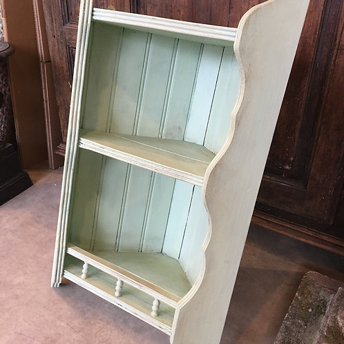 Pale Green Painted Corner Cupboard, with two open shelves, retro interiors at Source for the Goose, Devon