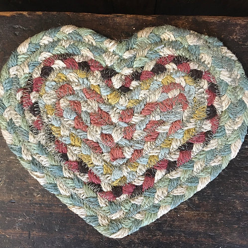 Pampas colour way braided rug heart shaped coaster, country style interiors at Source for the Goose