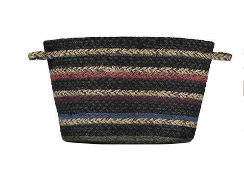 The Winter Stripe Organic Jute Basket, Braided Rug homewares at Source for the Goose, Devon
