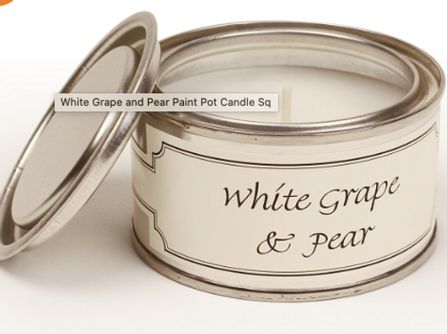 White grape and pear scented candle from Pintail candles, paint pot size at Source for the Goose, Devon