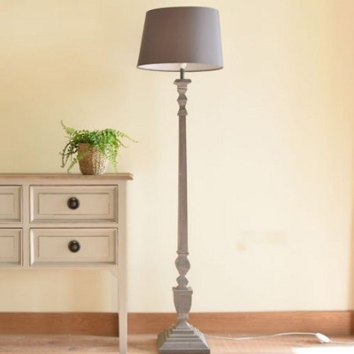 Elegant blue/grey standard lamp with shade, interiors at Source for the Goose