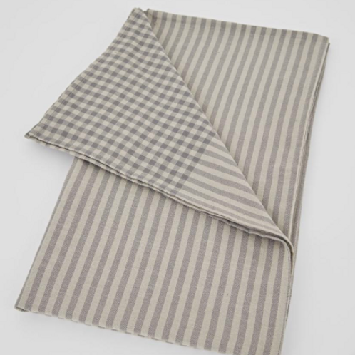 FFrench style shabby chic Weaver Green Grey Strip Toulouse Tablecloth at Source for the Goose