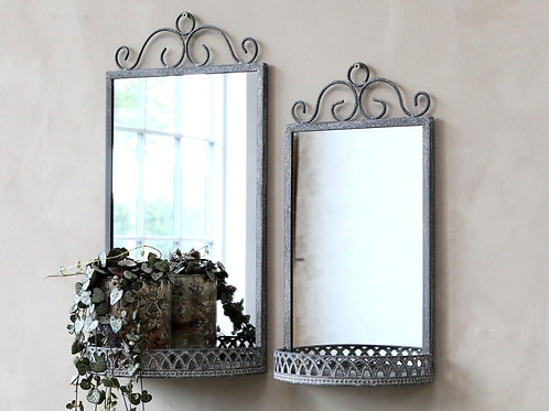Scroll Top Zinc Framed Mirror with Shelf