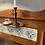 Blue/Green patterned tiles on Edwardian Washstand, vintage and secondhand furniture at Source for the Goose. Devon