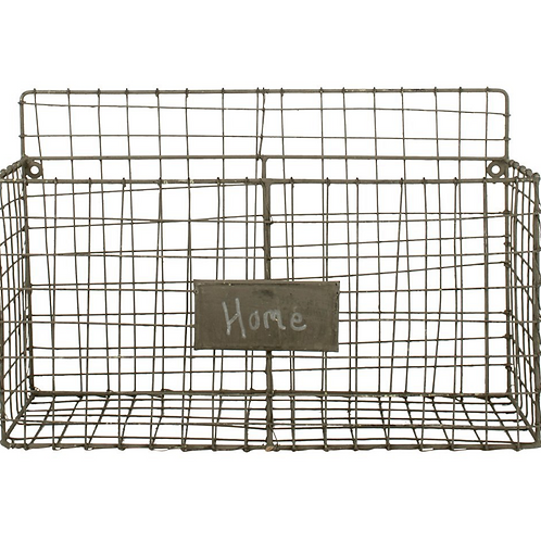 Wire Wall Basket with labelling slot, rustic interiors at Source for the Goose
