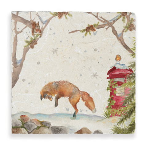 Wintry scene Christmas Post with Fox in snow, Kate of Kensington Marble Trivet, country homewares at Source for the Goose