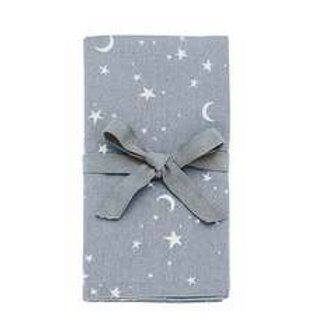 Twilight Grey Set of 4 Napkins with stars and crescent moon design, Christmas homewares at Source for the Goose, Devon