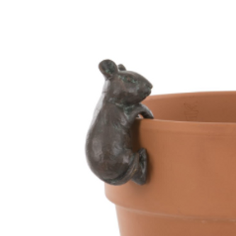 Vintage look Mouse Pot Hanger, garden decor at Source for the Goose