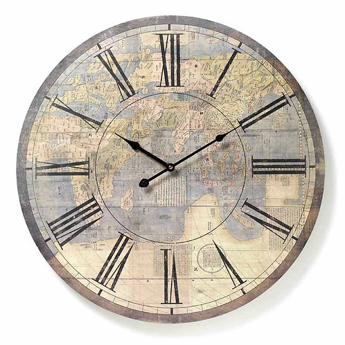 Vintage Look Atlas Wall Clock, large round mdf wall clock, unique interiors at Source for the Goose, Devon