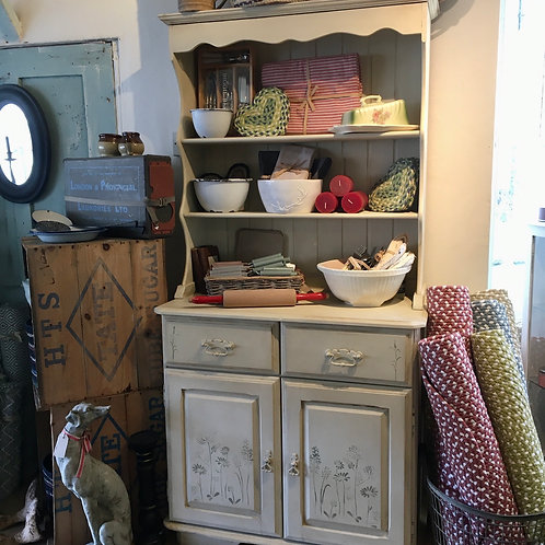 Pretty Painted Dresser with Stencilling, in Annie Sloan Old Ochre and Chateau Grey, interiors at Source for the Goose, Devon