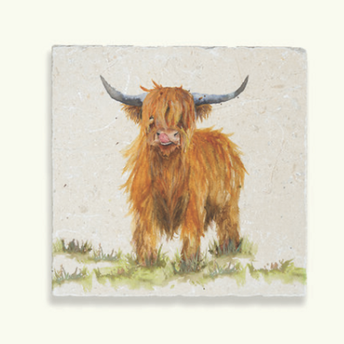 Kate of Kensington Highland Cow Marble Trivet, country themed interiors at Source for the Goose